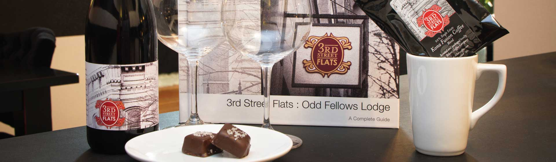 Complimentary wine, chocolates and a little coffee to get you started at 3rd Street Flats in McMinnville, Oregon